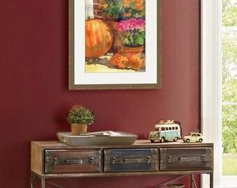 Pumpkin Painting   floral watercolor PRINT    Flower art   fall   autumn