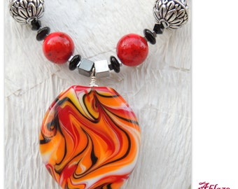 Ablaze Handmade Lampwork, Agate and Onyx Necklace