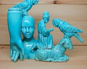Blue Ceramic Collage Parakeets Lamb and Wiseman