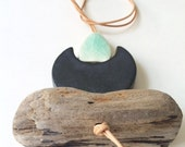 one of a kind moon meets ocean ceramic handmade necklace with driftwood