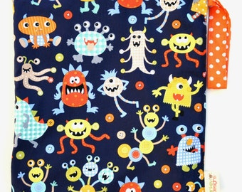 Medium 11 x 14 Wet bag /  Swim / Diapers / Gym /  Monster Mash Fabric  / SEALED SEAMS and Snap Strap