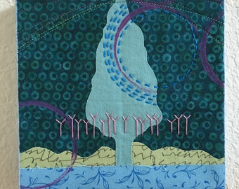 From Within art quilt blue tree fabric collage