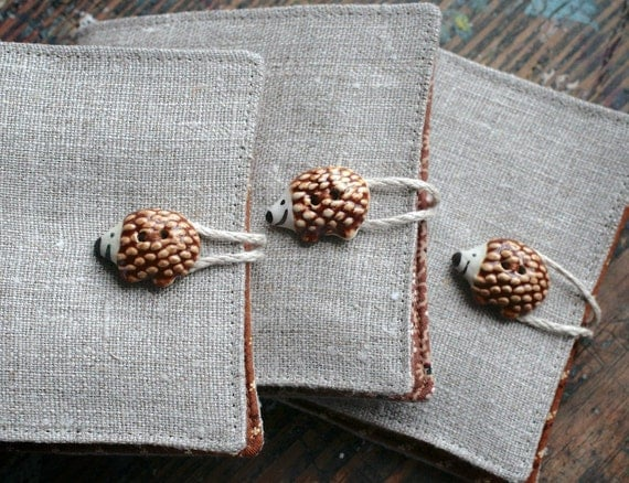 Small Linen Needle Book - ceramic Hedgehog button - brown