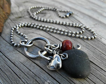 Beach Stone Necklace. River Rock Jewelry. Sterling Silver. Heart Pendant. Cindy's Art & Soul