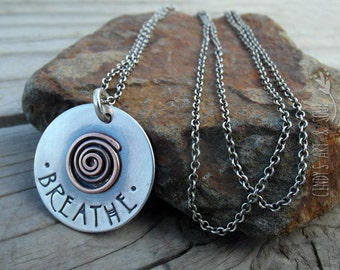 Breathe Necklace Mixed Metal Spiral Charm