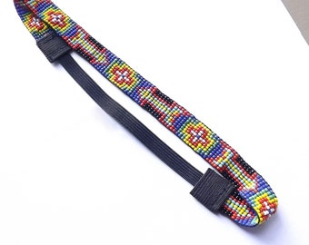 Black, Red, Blue, Yellow, Green Glass Seed Bead Elastic Headband - Arrows and Crosses - 20 Inch Black Elastic Headband - #EtsyGifts