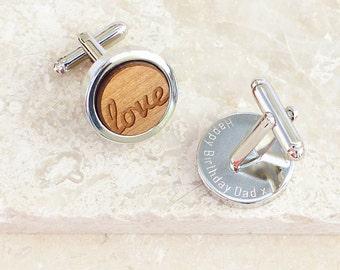 Personalized Wooden Love Cufflinks