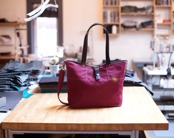 Waxed Canvas Tote - The Carrier - in Deep Magenta