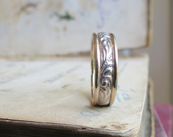 Art Nouveau Wedding Band Mens Wide Wedding Band His or Hers Wedding Band in Gold White Gold and Yellow Gold Unisex Band