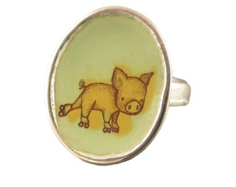 Pig Ring - Sterling Silver and Vitreous Enamel Ring with Rollerskating Pig