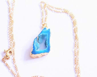 Beautiful Gilded Cerulean Blue Druzy Agate Slice Geode Necklace. Geode Jewelry, Electroplated Agate Jewelry, 14k Gold Chain,Free Shipping