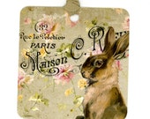 Rabbit Gift Tags , Vintage Tags , Bunny Tags , Green Tags , French Rabbit , French Tags , Vintage Rabbit , Vintage French , Paris Tags