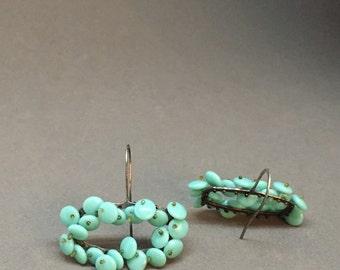 short drop earrings in turquoise aqua beaded dangle kinetic earrings oxidized sterling art earrings sculptural statement earrings modern
