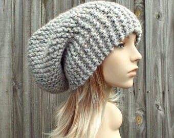 Light Grey Mens Hat Grey Womens Hat Slouchy Beanie - Slouchy Hat Grey Knit Hat - Grey Hat Grey Beanie Grey Tweed Hat - READY TO SHIP