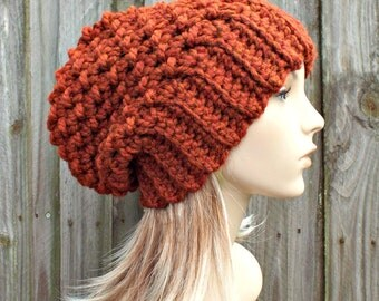 Burnt Orange Crochet Hat Womens Hat Slouchy Beanie Slouchy Hat - Souffle Beret Orange Hat Orange Beanie Orange Beret Womens