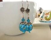 Blue Floral Earrings, Lampwork Earrings, Sterling Silver Earrings, Beaded Earrings