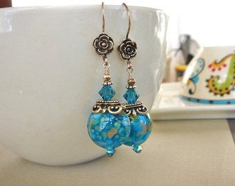 Blue Floral Earrings, Lampwork Earrings, Sterling Silver Earrings, Beaded Earrings