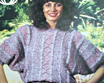 Sweater Knitting Pattern Summer Women Sizes 32 - 40 Inches DK Weight Yarn Sirdar 6595 Vintage Paper Original NOT a PDF