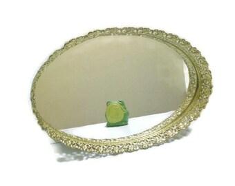 SALE | Vintage Large Filigree Metal Oval Dresser Mirror