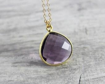 Dark Purple Necklace, Gold Filled Necklace, Amethyst Quartz Necklace, Violet Gemstone Necklace, Dainty Bezel Necklace, Delicate Cable Chain