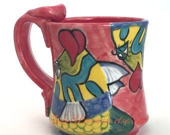 Ceramic Mug Handmade Wheel Thrown Stoneware Coffee Cup Hand Painted Fish Goldbar Wrasse Made to Order 12 Ounces MG0024