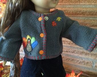 18 Inch Doll clothes - Thanksgiving Turkey Gray Fleece Jacket -