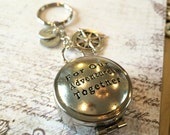 Compass Keychain For Our Adventures Together Boyfriend Gift Husband Gift Quote Compass Silver Compass Compass Charm Personalized Compass