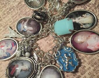 Marie Antoinette Charm Bracelet, Marie Antoinette, Charm Bracelet, Silver Charm Bracelet, Queen Charm Bracelet, Queen Charms, Gift for Her