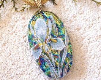 Blue Iris Necklace, Dichroic Glass Jewelry, Fused Glass Jewelry, Gold Necklace, Iris Necklace, Glass Jewelry, Blue Glass Pendant, 102116p103