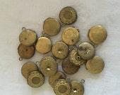 Assorted Vintage Round Brass Lockets. 13 mm. New Old Stock with Patina. Two.