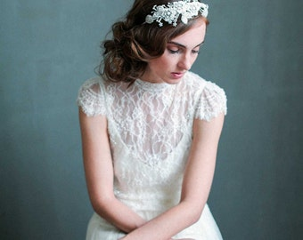 Bridal headband - Opal enchanted beaded floral headband - Style 727 - Made to Order