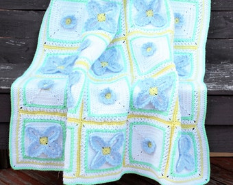 3D Flower Baby Blanket. Crochet Floral Motif. Baby Shower Gift. X's and O's Large Crib Afghan. Nursery Keepsake Blankie. Hugs and Kisses