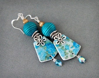 Vintage flowers. Artisan earrings.  teal dangle earrings. Handmade polymer clay drops, antiqued silver, polymer clay