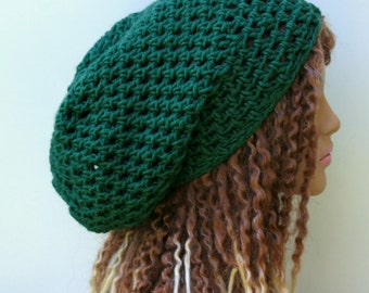 Kale green slouchy hat, sock dread Tam, Slouchy Beanie, Hippie Bohemian hat, snood slouch hat, baggy beanie, woman beanie, man hat, dreads