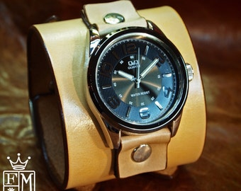 Leather cuff watch tan vintage style leather cuff bracelet Best quality Made for YOU in NYC by Freddie Matara!