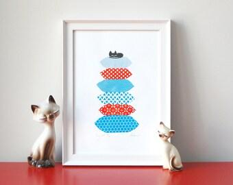 Cosy Cat - A4 - 3 colour screenprint