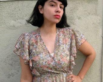 earthy boho ruffle bodice dress medium
