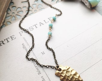 L A S T. D R E A M... Dainty row of amazonite, gold arrowhead, mixed metal, brass necklace, boho, heart chakra necklace FREE SHIPPING