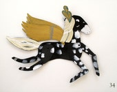 Lightning / Caramel, Black Spotted and Plumed Horse Articulated Decoration  / Hinged Beasts Series