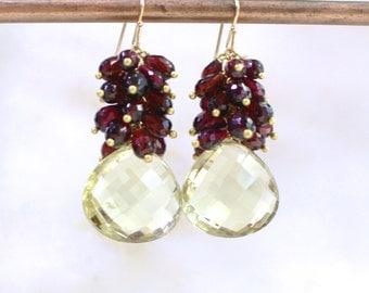 Lemon Quartz, Garnet Cluster Focal Drop earrings in 14k Gold Fill...