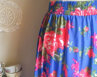 Cute Vintage 70s 80s Bold Bright Floral Print Pink Blue Midi Skirt