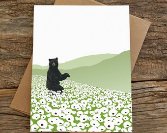 blank note cards / cute stationery / bear and poppies