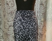 Body Con Skintight Black Gray Leopard Hobble Skirt Pin-Up Rockabilly Small