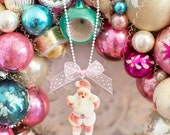 Pink Santa Claus WHITE BALL CHAIN Sweet Magical Glitter Sparkle Jewelry Holiday Necklace Children Adults Kitsch