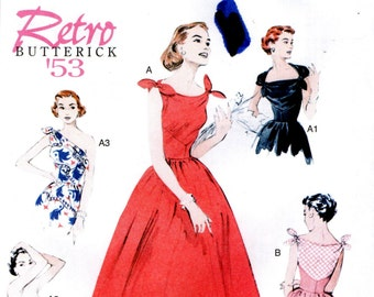 Butterick 5708 RETRO '53 Rockin' Sundress Off Shoulder, Strapless MORE English & French Francais Instructions
