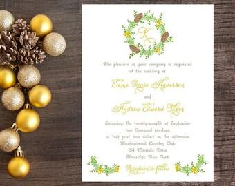 Winter Theme Wedding Invitation - Pine Cone Wreath Winter Wedding Invitaiton