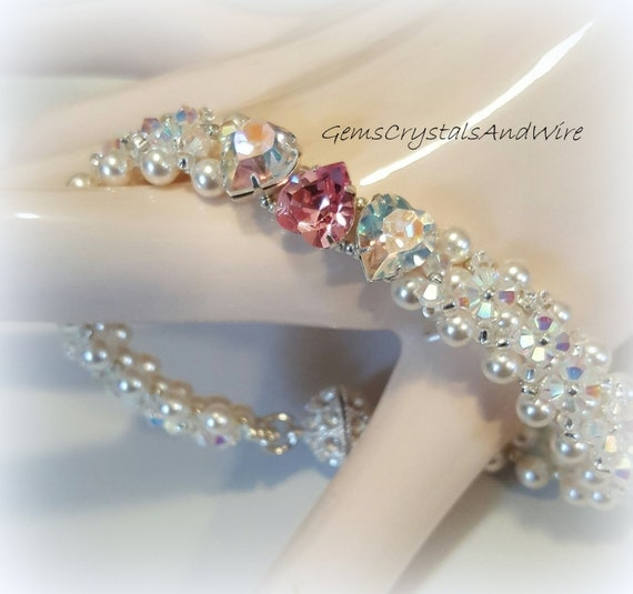 Sweetheart Bracelet, Swarovski Bracelet, Valentine Bracelet, Bridesmaid Bracelet, Heart Bracelet, Pearl Bracelet, Crystal Bracelet