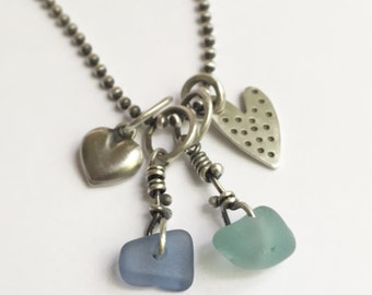 Seaglass Beach Glass Heart Charm Necklace Sterling Silver 18 Inch Ball Chain