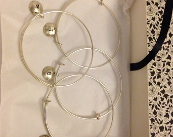 initial adjustable bracelet sterling silver