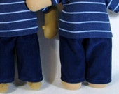 14 to 16 inch size Waldorf Doll Pants, 15 inch blue corduroys